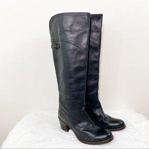 FRYE Women's Jane Tall Cuff Black Leather Boots